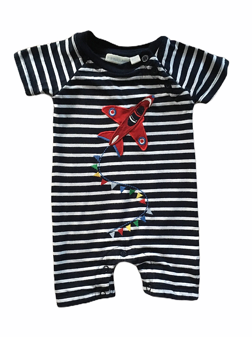 JoJo Maman Bebe 0-3 months Navy and White Striped Romper with Aeroplane
