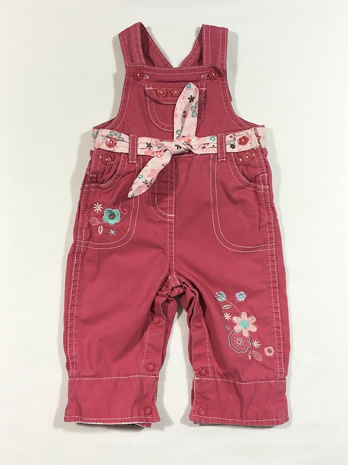 M&Co. 3-6 months Pink Floral Dungarees