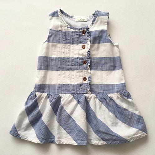 Next 6-9 months Blue and White Sleeveless Dress