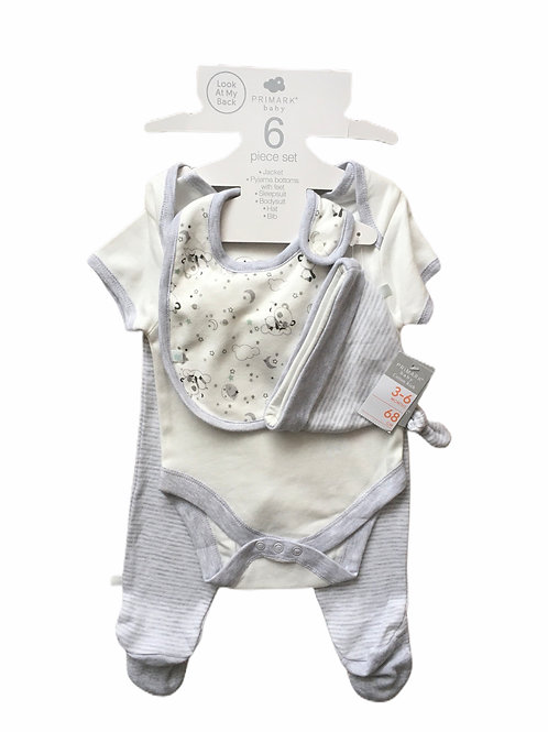 Primark 3-6 months 4 piece panda set- Hat, Bib, Short Sleeve Bodysuit & Trousers