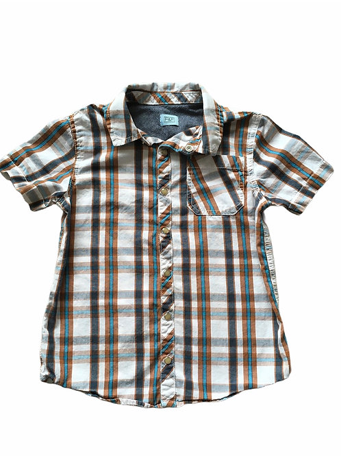 F&F 6-7 years Brown, Blue and Cream Checked Shirt