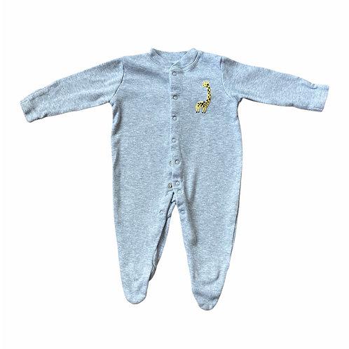 John Lewis 0-3 months Grey Giraffe Sleepsuit