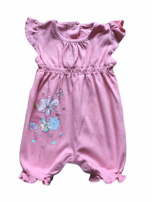 Matalan 0-3 months Peach Flower and Butterfly Romper