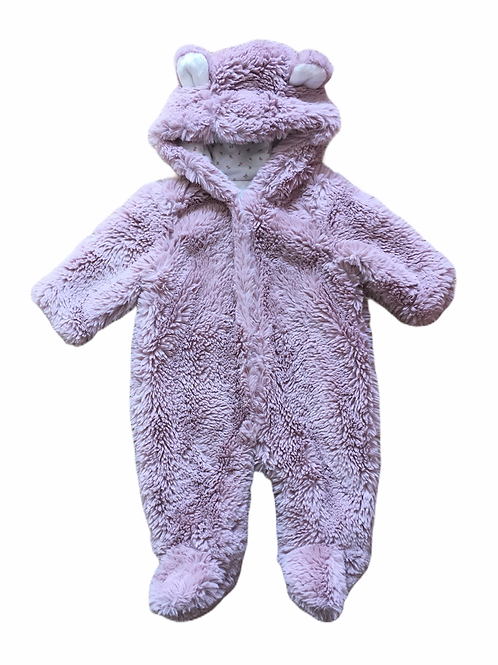 TU 0-3 months Fluffy Dusky Pink Animal Pramsuit