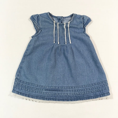 George 3-6 months Denim Dress with Lace Trim