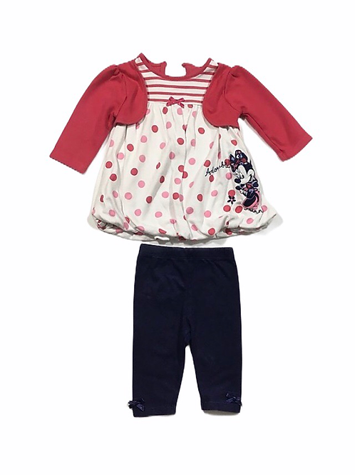 George 0-3 months Disney Minnie Mouse Dress & Navy Leggings Set