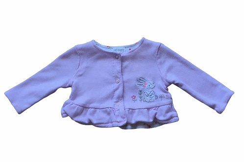 F&F Up to 1 month Reversible Jacket - Pink and White Stripes/Floral