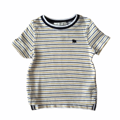 Jasper Conran 3-4 years White, Mustard and Navy Striped T-shirt - BRAND NEW