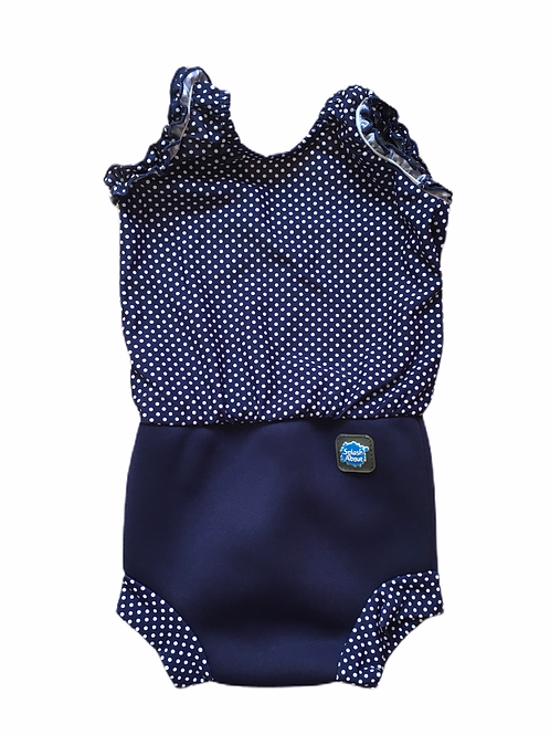 Splash About Large (6-14 months) Happy Nappy Navy Polka Dot Swimming Costume