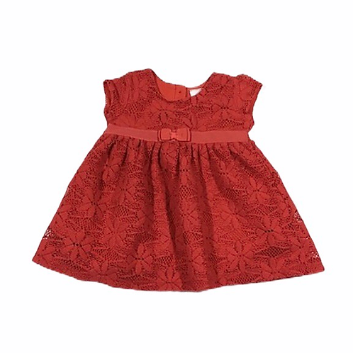 Bluezoo 0-3 months Red Soft Brushed Lace Dress