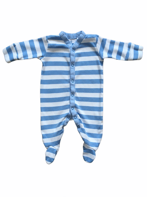 Next Up to 1 month Baby Blue and White Sleepsuit