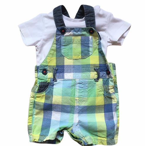 Bluezoo 3-6 months Check Dungarees with White T-shirt (Small mark on pocket)