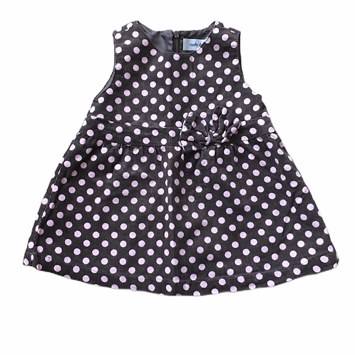 Primark 6-12 months Brown and Pink Polka Dot Cord Dress with Bow