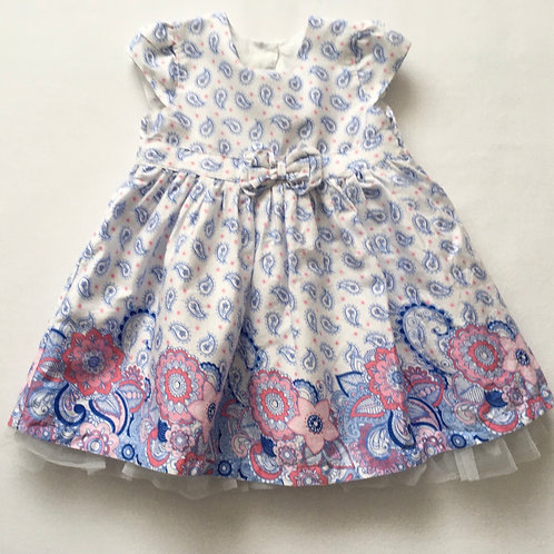 Matalan 9-12 months White Patterned Cap Sleeve Dress with Netting Underlay