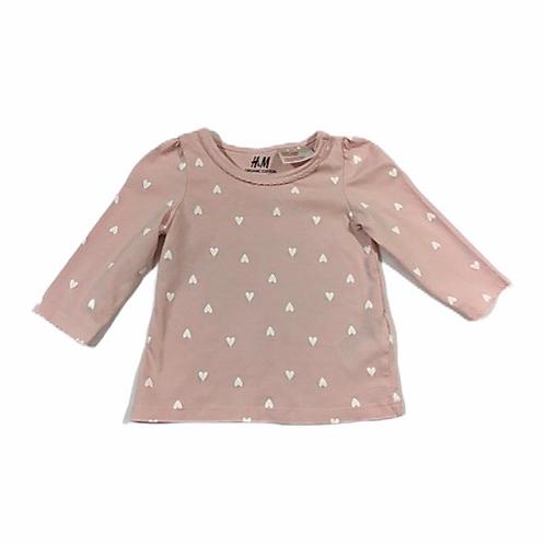 H&M 2-4 months Pink Heart Long Sleeve Top