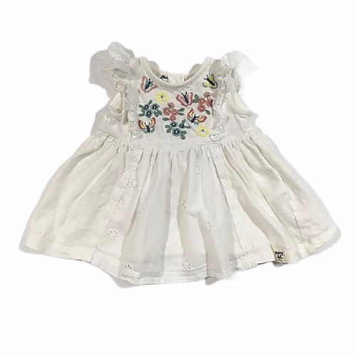 Mantaray 0-3 months Sleeveless Top with Embroidered Butterflies and Flowers