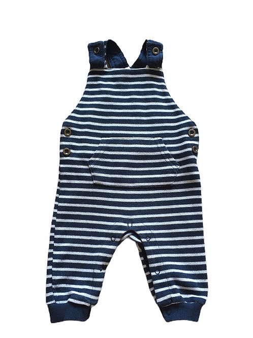 F&F 3-6 months Navy and White Striped Dungarees