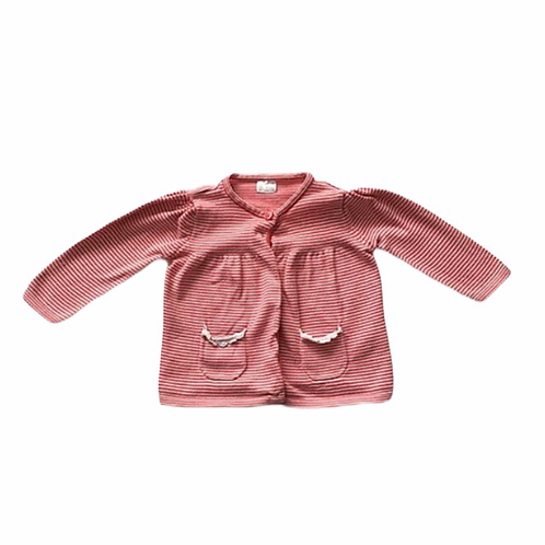 F&F 3-6 months Red and White Striped Cardigan