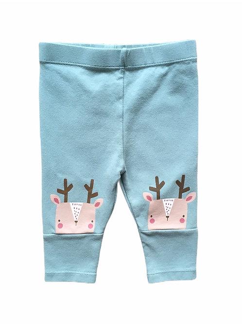 TU 3-6 months Green Reindeer Christmas Leggings (Very minor cracking to motif)