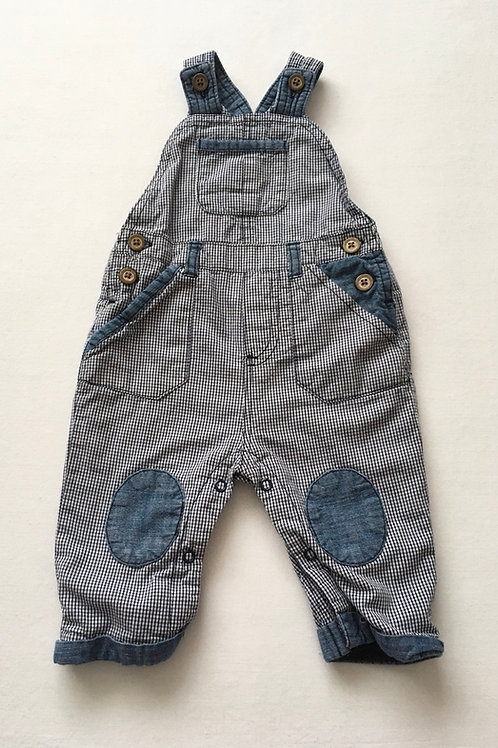 Next 3-6 months Navy and White Checked Dungarees