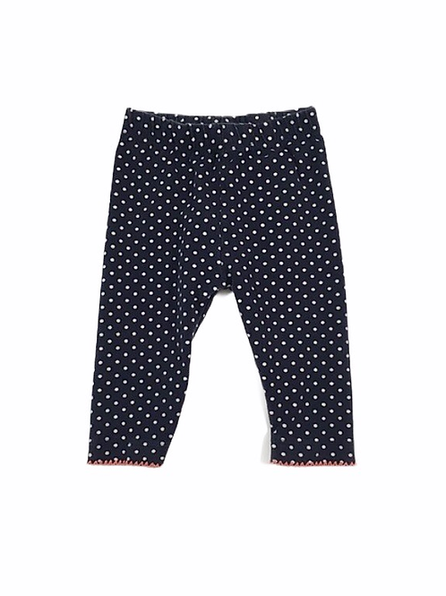 Nutmeg 0-3 months Navy Polka Dot Leggings