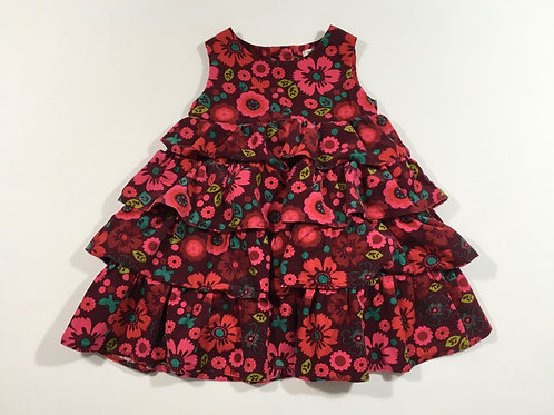 M&S Autograph 9-12 months Cord Floral Tiered Ruffle Dress