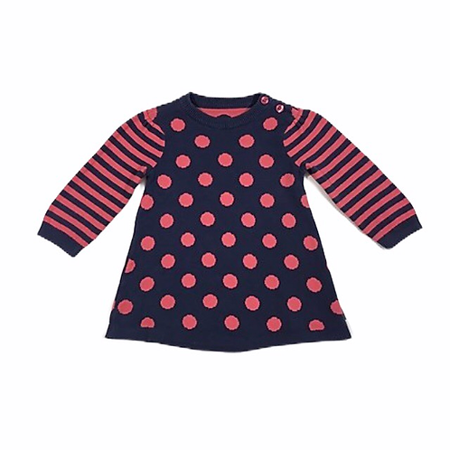 Nutmeg 3-6 months Navy and Pink Polka Dot Jumper Dress