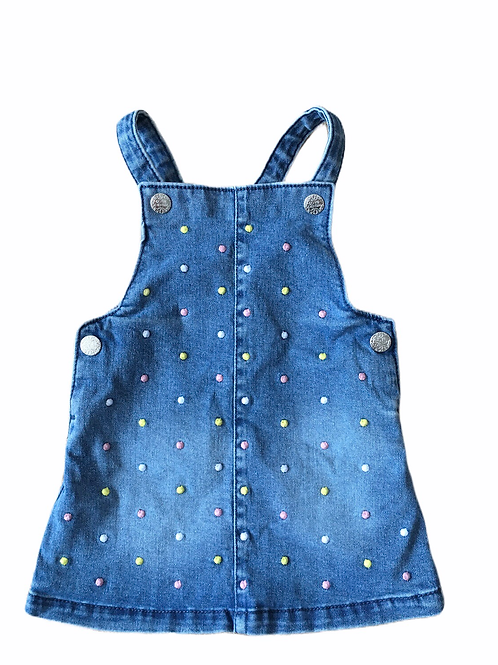 F&F 3-6 months Denim Pinafore Dress with Polka Dots