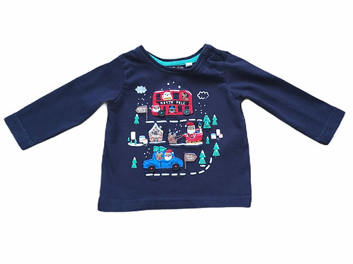 Bluezoo 0-3 months Navy Long Sleeve Christmas Top