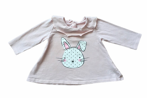 Matalan 6-9 months Baby Pink Long Sleeve Rabbit Top (Slightly cracked motif)