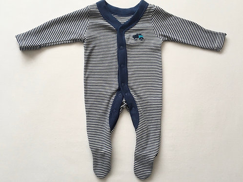M&S Newborn Navy and White Striped Sleepsuit with Truck Motif