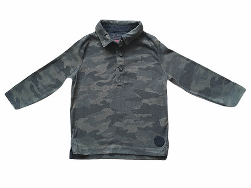 F&F 12-18 months Camouflage Long Sleeve Polo Shirt