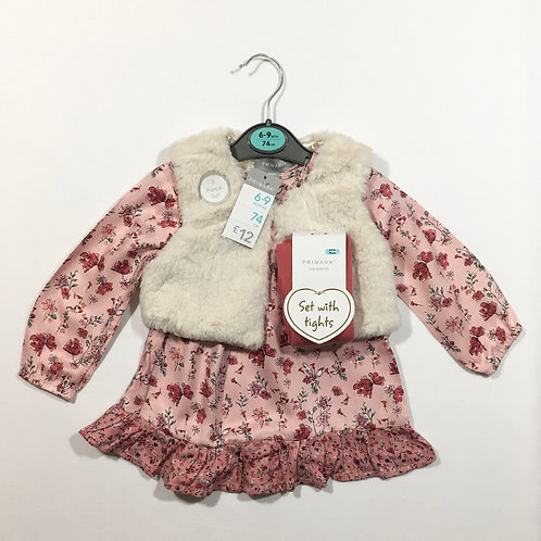 Primark 6-9 months 3 Piece Set – Dress, Fur Gilet and Tights - BRAND NEW