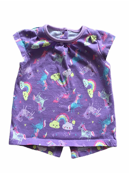 TU 3-6 months Purple Unicorn and Rainbow T-Shirt
