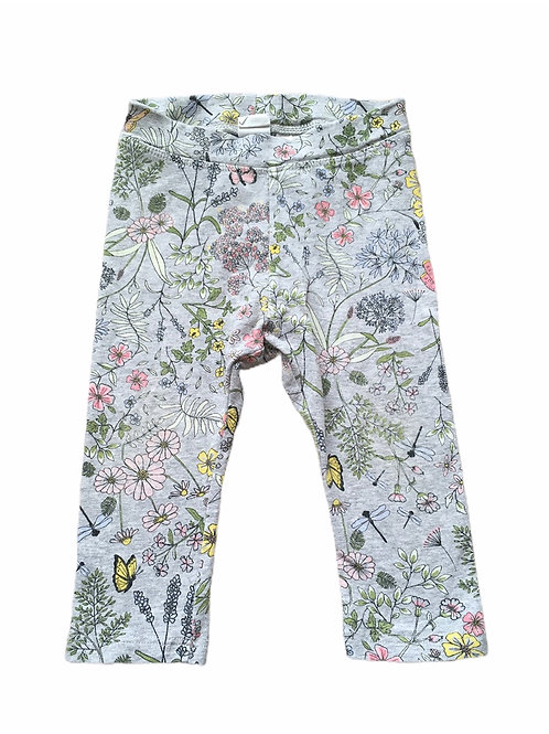 H&M 6-9 months Grey Floral and Butterfly Leggings