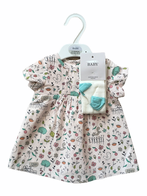Ex High Street 0-3 months Cord Dress and Tights - BRAND NEW