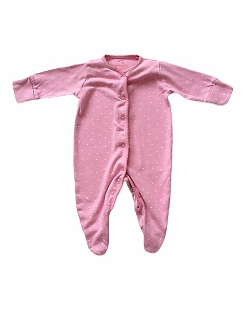 Next 0-3 months Pink Sleepsuit with White Hearts