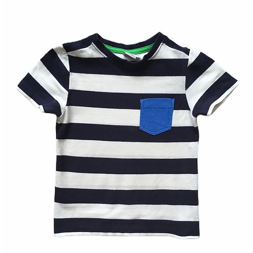 Boots Mini Club 3-4 years Navy and White Striped T-shirt