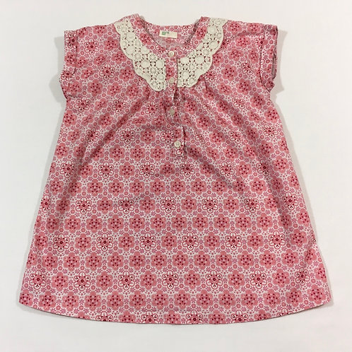 Benetton Baby 9-12 months Pink Patterned Top with Lace Detail