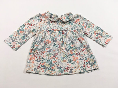 M&S 3-6 months Rabbit and Floral Long Sleeve Top