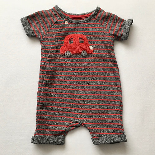 Mothercare Up to 1 month Red and Grey Striped Car Romper