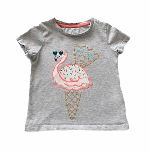M&S 2-3 years Grey Flamingo Ice Cream T-shirt