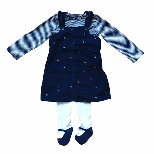 Carters 24 months Navy Cord Dress with Gold Bows, Striped Top and Tights