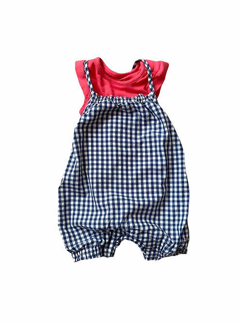 M&S 0-3 months Navy and White Checked Romper and Bodysuit Set
