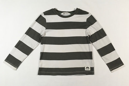 H&M 2-4 years Grey and White Striped Long Sleeve Top