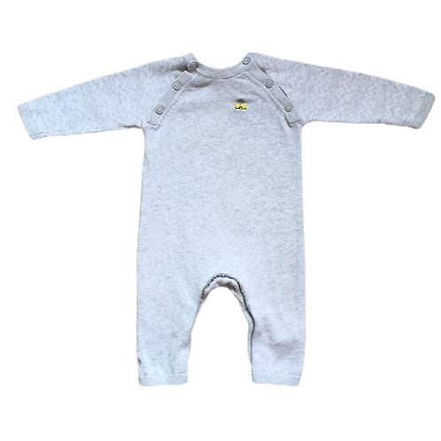 M&S Grey Cotton Knitted Romper with Car Motif