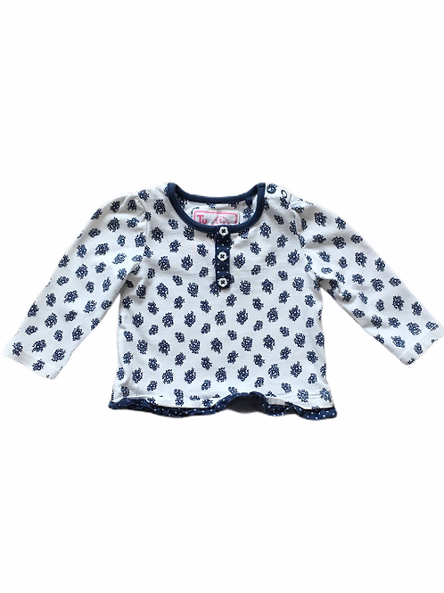 TU 0-3 months Navy and White Floral Long Sleeve Top