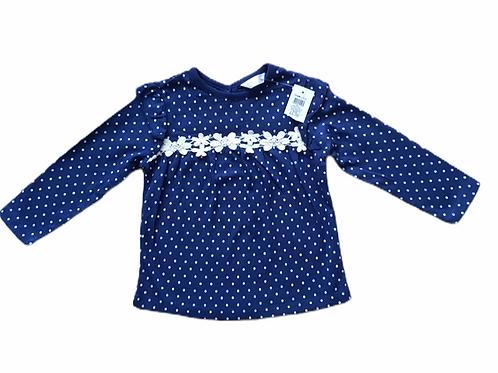 M&Co. 9-12 months Navy Polka Dot Long Sleeve Top