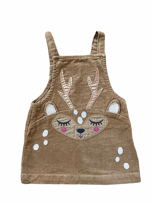 Next 6-9 months Brown Cord Deer Pinafore Dress