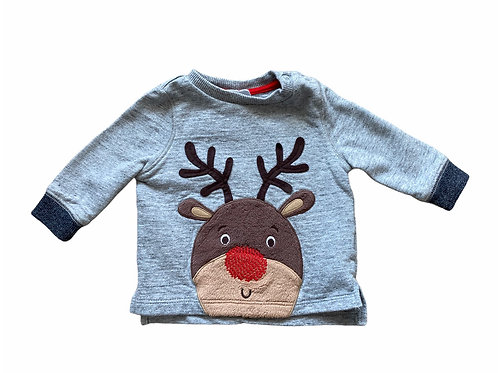 F&F Up to 1 month Reindeer Christmas Sweatshirt